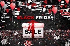 Drapeau noir de vente de vendredi Boîte 3d de papier Affiche conceptuelle de remise Illustration de vecteur photo stock