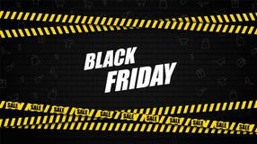 Drapeau noir de vente de vendredi Dispositif avertisseur de mur de briques et de police avec le texte de vente Vente Vecteur images stock