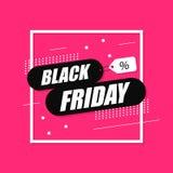 Drapeau noir de vente de vendredi Fond d'achats Étiquette de vente image stock