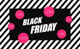 Drapeau noir de vente de vendredi Fond d'achats Étiquette de vente Vecteur photographie stock libre de droits