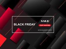 Drapeau noir de vente de vendredi Fond polygonal rouge et noir élégant avec les formes géométriques en baisse et le texte Black F illustration libre de droits