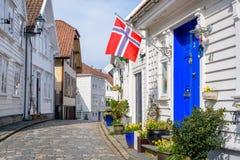 Drapeau norvégien célébrant le jour de constitution en Norvège image libre de droits