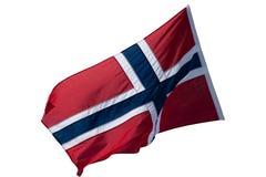 Drapeau norvégien de ondulation d'isolement sur le blanc photos libres de droits