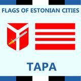 Drapeau officiel de Tapa estonien de ville Images libres de droits