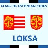 Drapeau officiel de ville estonienne Loksa Photos stock