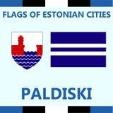 Drapeau officiel de ville estonienne Paldiski Photos stock