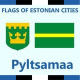 Drapeau officiel de ville estonienne Pyltsamaa Photographie stock libre de droits