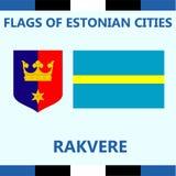 Drapeau officiel de ville estonienne Rakvere Photographie stock libre de droits