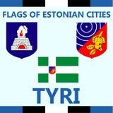 Drapeau officiel de ville estonienne Tyri Photographie stock libre de droits