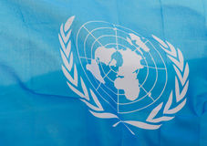 Drapeau onduleux des Nations Unies Images stock
