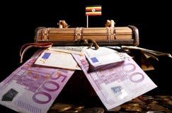 Drapeau ougandais sur la caisse Image libre de droits