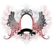 Drapeau ovale avec les ailes grises Photographie stock