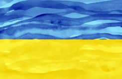 Drapeau peint de l'Ukraine image libre de droits