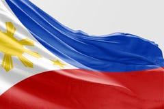 Drapeau philippin d'isolement ondulant le tissu 3d réaliste Photos libres de droits