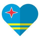 Drapeau plat de coeur d'Aruba Photographie stock