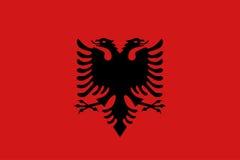 Drapeau plat de l'Albanie Images stock