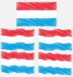 Drapeau plat et ondulant de croquis d'aspiration de main du Luxembourg Photo stock