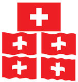 Drapeau plat et ondulant de la Suisse Photographie stock