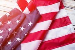 Drapeau plissé des Etats-Unis Photo stock