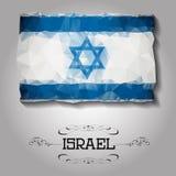 Drapeau polygonal géométrique de l'Israël de vecteur Photo stock