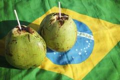 Drapeau potable de Brésilien de noix de coco de Gelado de Cocos Photo libre de droits