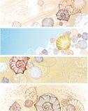 Drapeau quatre avec des seashells Photographie stock libre de droits
