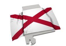 Drapeau réaliste couvrant la forme de l'Alabama (séries) Images stock