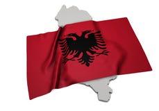 Drapeau réaliste couvrant la forme de l'Albanie (séries) Images libres de droits