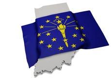 Drapeau réaliste couvrant la forme de l'Indiana (séries) Photo libre de droits