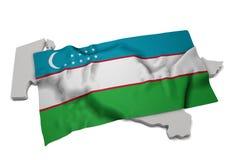 Drapeau réaliste couvrant la forme de l'Ouzbékistan (séries) Images libres de droits