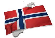 Drapeau réaliste couvrant la forme de la Norvège (séries) Image stock