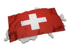 Drapeau réaliste couvrant la forme de la Suisse (séries) Photographie stock