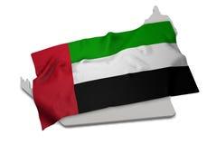 Drapeau réaliste couvrant la forme des Emirats Arabes Unis (serie Images stock
