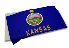 Drapeau réaliste couvrant la forme du Kansas (séries) Photos stock