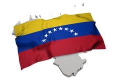 Drapeau réaliste couvrant la forme du Venezuela (séries) Photographie stock libre de droits