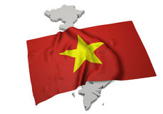 Drapeau réaliste couvrant la forme du Vietnam (séries) Image libre de droits
