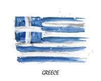 Drapeau réaliste de peinture d'aquarelle de la Grèce Vecteur Photographie stock libre de droits