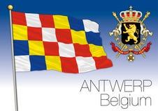 Drapeau régional d'Anvers, Belgique Image libre de droits