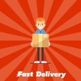 Drapeau rapide de la distribution Facteur avec la boîte en carton Photo stock