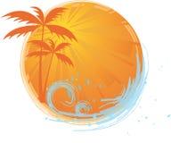 Drapeau rond avec des palmiers Photographie stock