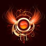 Drapeau rond chaud avec les ailes ardentes Photo libre de droits