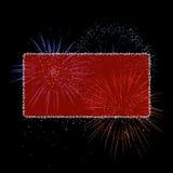 Drapeau rouge de feux d'artifice illustration libre de droits
