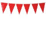 Drapeau rouge de partie d'étamine avec le modèle de forme de coeur d'isolement sur le petit morceau Photo libre de droits