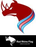 Drapeau rouge de rhinocéros de logo courant Photo libre de droits