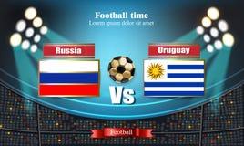 Drapeau russe de conseil du football CONTRE l'Uruguay Match 2018 de calibre de championnat du monde teams les drapeaux nationaux  Illustration de Vecteur