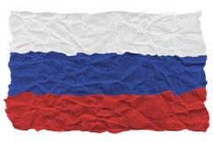 Drapeau russe de papier ondulé chiffonné ?pave de l'eau de bateau d'argent de main de crise de concept illustration libre de droits