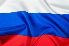Drapeau russe fait de plan rapproché en soie Photo libre de droits