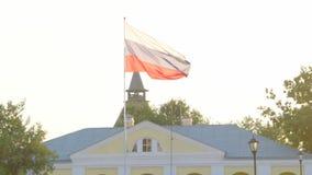 Drapeau russe flottant dans le vent banque de vidéos