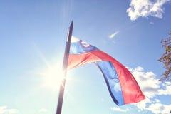 Drapeau slovène ondulant dans le vent Photographie stock