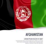 Drapeau soyeux de l'Afghanistan ondulant sur un fond blanc d'isolement avec le secteur blanc des textes pour votre message d'anno Photos stock